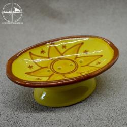 Seifenablage aus Keramik, gelb, Sonne