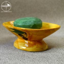Seifenablage aus Keramik, gelb, Motiv