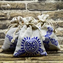 Lavendelsäckchen aus Leinen, handbedruckt