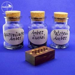 Amberschatulle, befüllt mit 5g Amber, 3 Sorten